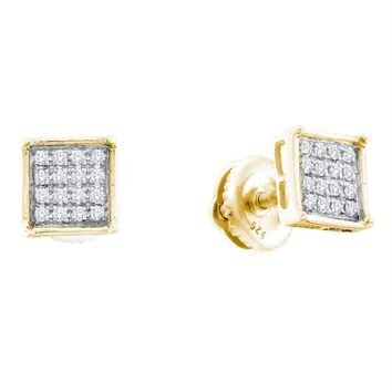 Yellow-tone Sterling Silver Women's Round Diamond Square Cluster Screwback Earrings 1-10 Cttw - FREE Shipping (USA/CAN)