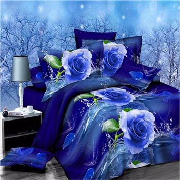 Hot Sale Elengant 3D Panda Rose Flower Bedding Set Bedclothes Quilt Comforter Pillowcase Set Duvet Cover Single/Double