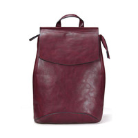 Burgundy Structured Backpack With Zip Back Pocket