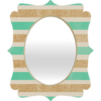 Allyson Johnson Glitter And Mint Quatrefoil Mirror