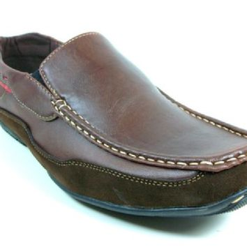 Mens Rocus Two Tone Slip On Moccasin Loafers Shoes CAS-901 Brown