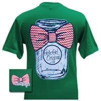 Girlie Girl Originals  Mason Jar Chevron Bow Green Bright T Shirt