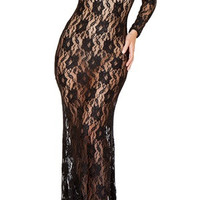 """""""Mimi"""" Floor Lace Gown"""