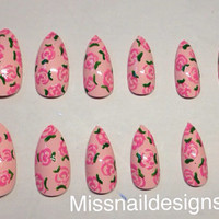 Pink floral rose stiletto false nails