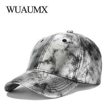 Trendy Winter Jacket Wuaumx Brand Silver PU Leather Baseball Caps For Men Women Casual Faux Leather Snapback Hat Curved Peak Hip Hop Cap  AT_92_12
