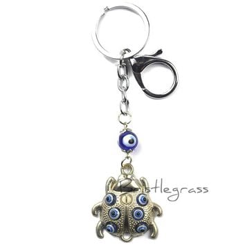 BRISTLEGRASS Turkey Blue Evil Eye Ladybird Ladybug Keychain Key Chain Ring Holder Amulet Pendant Lucky Charm Blessing Protection