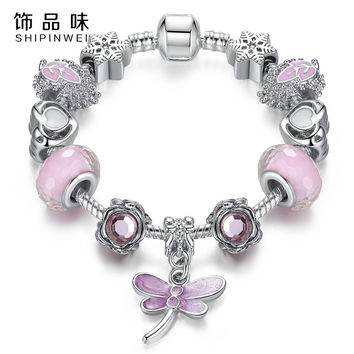 Fashion Bracelet&Bangle Lovely Pink Murano Glass Beads Dragonfly Charm Silver fit Bracelet For Mon&Child Jewelry Gift