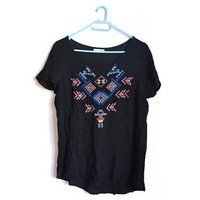 Womens Black Boho Top Embroidery Embroidered Loose Blouse Small S Medium M