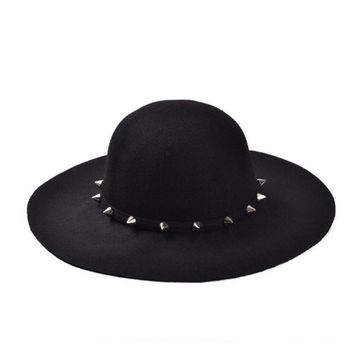 DCCKLG2 2017 New Big Brim Floppy Spiked Studed Wool  Hat