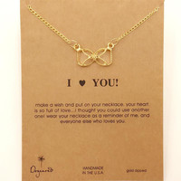Dogeared Love Bowknot Drop 18K Gold Plated Chain Fashion Necklace
