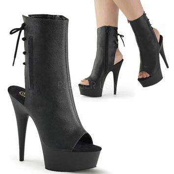 Black Faux Leather Ankle Stripper Boot 6 Inch Heels