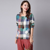 New Spring And Autumn Pocket Blouse Casual Linen Round Neck Long-sleeved Plaid Shirt Womens Fashion