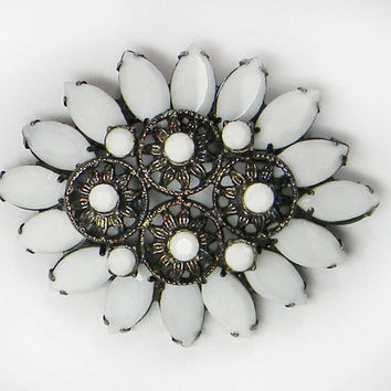 Juliana D&E Milk Glass Flower Brooch White Rhinestones Gunmetal Black Japanned Pin