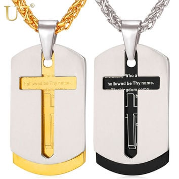 U7 Cross Necklace Pendant Christian Jewelry Bible Lords Prayer Dog Tags Gold Plated Stainless Steel Christmas Gifts For Men P682