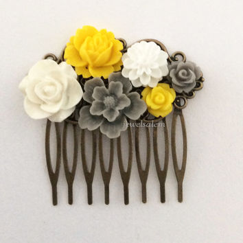 Gray Wedding Hair Comb Yellow Bridal Accessories Floral Headpiece Grey Mustard Yellow Woodland Rustic Autumn Fall Colors WR Shabby Chic