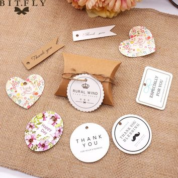 50pcs DIY Kraft Paper Tags Thank You Tags Baking Tags Wedding Party Note Kraft Gift Wrapping Supplies Vintage Wedding Decoration