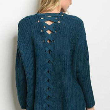 Long sleeve Open Front Lace Up Cardigan