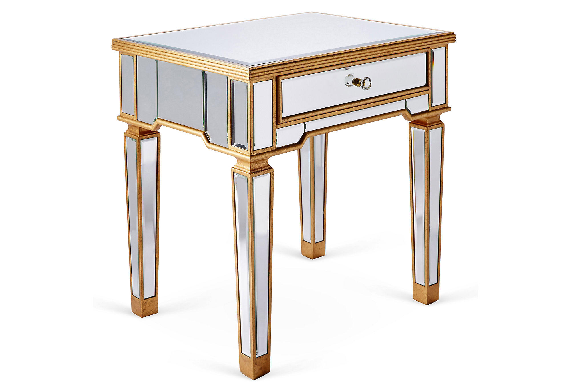 mirrored side table gold standard side from one kings lane. Black Bedroom Furniture Sets. Home Design Ideas