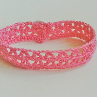 Crochet Ankle Bracelet in Pink Hippie Boho Summer