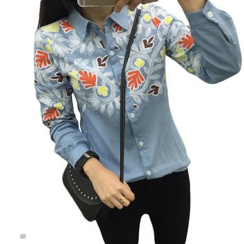 2016 Summer Vintage Women Denim Shirts Long Sleeve Polo Neck Slimming Floral Print Cas
