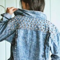 Rivets Laple Denim Jacket  S005431