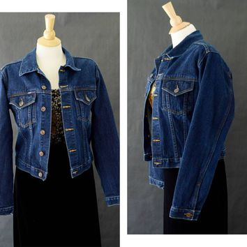 90s Denim Jean Jacket, 90s Cropped Denim Jacket, Dark Wash Denim, Size Medium LEI Jean Jacket Vintage L.E.I. Jean Jacket Fitted Denim Jacket