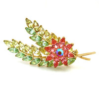 TRIFARI Brooch / Pink Green Yellow Rhinestone Huge Floral Pin / Vintage 1960s Jewelry