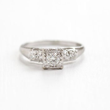 Vintage 14k White Gold Diamond Ring - Size 7 1/4 1940s Era 1/4 Carat Center Diamond Engagement Wedding Illusion Head Fine Jewelry