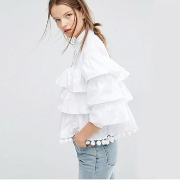 Multi Layer Cake Top Fringed Flounce T Shirt White Black Blouse Women Fashion Clothes | Best Deal Online