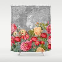 Map and Floral Shower Curtain - Bold roses and gray vintage Map - Home Decor travel decor wanderlust - Bathroom