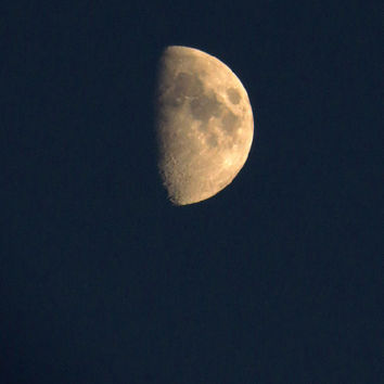 Moon Photography, Night Sky Photo, Half Moon, Nature Photograph Art, 8x10