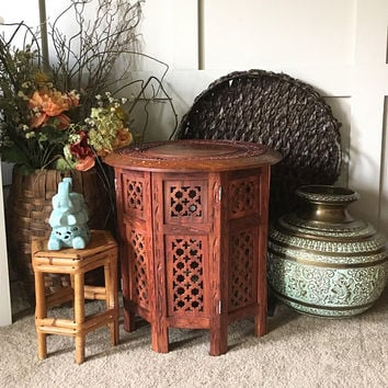 Small Carved Wood Side Table with Inlaid Brass Top,  Moroccan Octagonal Tea Table, Bohemian Plant Stand, Rosewood Carved Accent Table