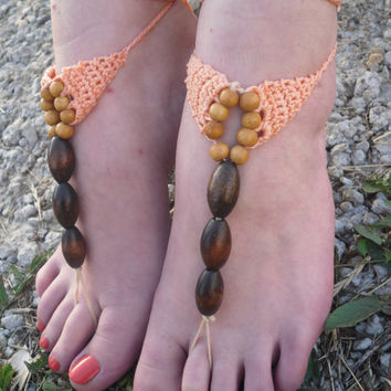 Free Shipping! Handmade Crochet Barefoot Sandlas With Wooden Pearls Foot Accessories Foot Jewelry Beach Summer