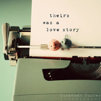 Typographic print, typewriter photo, romance, Valentines, engagement, wedding, typography, green, pink, blue, love letter, 8x8 square photo
