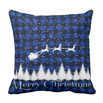 Santa's Christmas Sleigh Blue Pillow