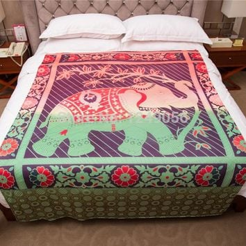 203x153cm Red Elephant Tapestry Indian Mandala Hippie Wall Hanging Tapestries Bohemian Beach Towel Bedspreads Sheet Yoga Blanket