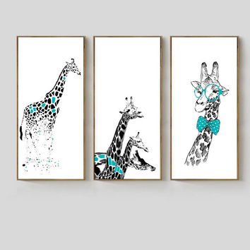 NEW Cartoon Animals Giraffe Nordic Poster Canvas Wall Art Canvas Print Oil Paintings Pop Wall Pictures Home Decoration No Frame