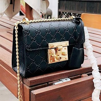 Gucci Padlock Newest Popular Women Leather Metal Chain Shoulder Bag Crossbody Satchel Black