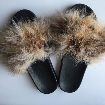 Ostrich  faux fur slippers