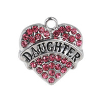 2 Daughther Charms, Pink Rhinestone Daughter Pendant 20mm, Rhinestone Daughter Heart Charms, Silver Tone Daughter Charms, Heart Charm, C67