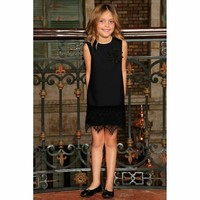 Black Stretchy Sleeveless Fancy Party Shift Dress with lace trim - Girls