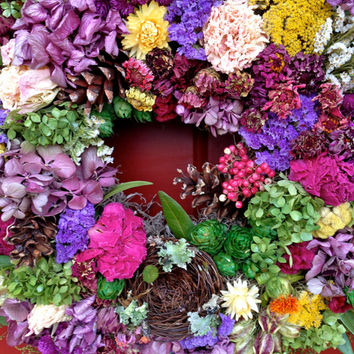 Spring Wreath/ Mother's Day Wreath/ Dried Flower Wreath/ Dried Floral Wreath/ Birds Nest Wreath Listing Stats