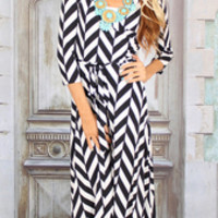 Head Turning Black and White Maxi Dress - Modern Vintage Boutique