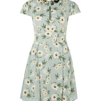 Green Floral Print Tie Back Keyhole Dress