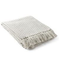 Thelma Fringe Throw Blanket - Cream