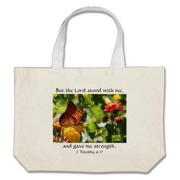 Butterfly Tote w/ Bible Verse about God's Strength
