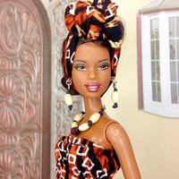 Barbie Doll Dress - Animal Print Maxi Dress with Head-Wrap, Earrings, Necklace, and Shoes