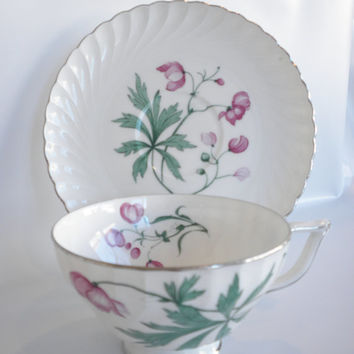 Vintage, Royal Pettau Bone China Teacup and Saucer, Pink and Green with Platinum, German Teacup