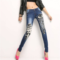 New Women Full Length Trousers Denim Pants High Female Skinny Pants Plus Large Size Irregular Jeans With Button Fly 72167 SM6