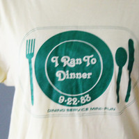 sale // Vintage 80s I Ran to Dinner College Tee Shirt - Hanes Made in America - Women M Men S - Pale Yellow, Green